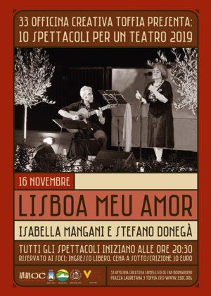 Lisboa meu amor, lo spettacolo di e con Isabella Mangani e Stefano Donegà a 33 Officina Creativa di Toffia