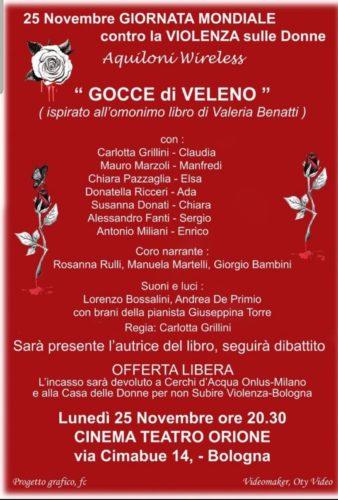 """Le composizioni di Giuseppina Torre accompagneranno la pièce teatrale """"Gocce di veleno"""" al Cinema Teatro Orione di Bologna"""