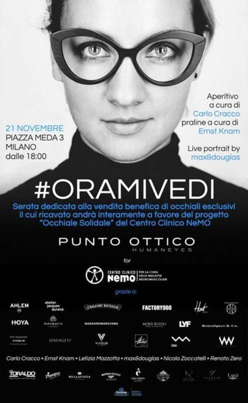"""Al Punto Ottico di Milano la serata #ORAMIVEDI. Il ricavato andrà a favore del progetto """"Occhiale Solidale"""" del Centro Clinico NeMO"""