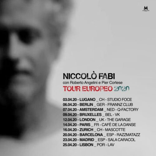 Niccolò Fabi ad aprile 2020 live in Europa con Roberto Angelini e Pier Cortese