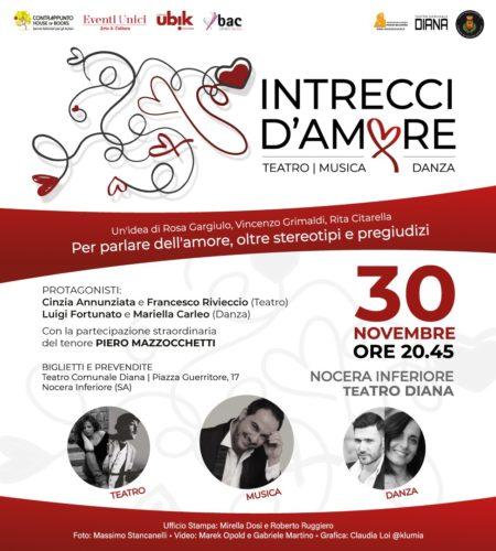 Intrecci d'amore, la performance di musica, danza e teatro in scena in prima nazionale al Teatro Diana di Nocera Inferiore