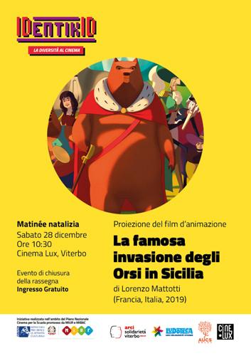 La famosa invasione degli orsi in Sicilia, il film di Lorenzo Mattotti. La proiezione presso il cinema Lux di Viterbo
