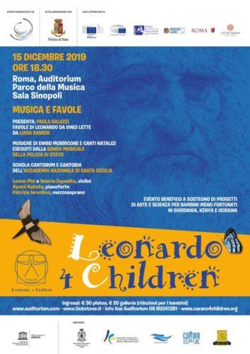 """""""Leonardo 4 Children: Musica e favole"""". Evento benefico e culturale all'Auditorium Parco della Musica, Sala Sinopoli di Roma"""