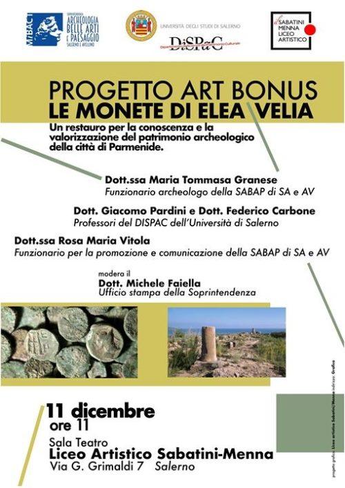 """Le monete antiche di Elea Velia all'Università e Soprintendenza al Liceo Artistico """"Sabatini-Menna"""" di Salerno"""