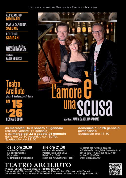L'Amore è una scusa di Maria Carolina Salomè lo spettacolo al Teatro Arciliuto di Roma