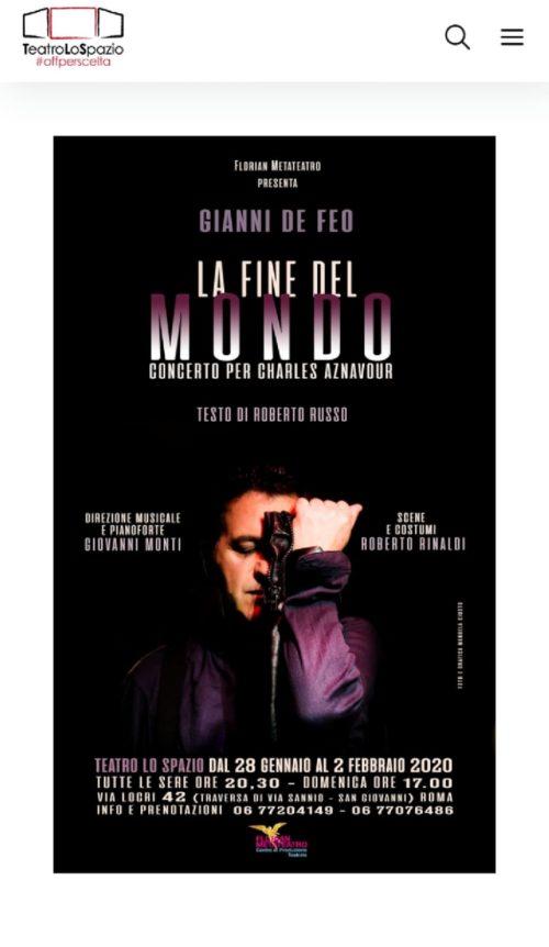 Gianni De Feo in La Fine del mondo. Concerto per Charles Aznavour al Teatro Lo Spazio di Roma