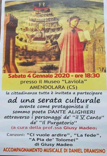 """Serata culturale dedicata al sommo poeta Dante Alighieri al Museo Archeologico nazionale """"Laviola"""" di Amendolara"""