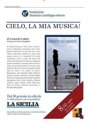 """""""Cielo, la mia musica!"""" è il nuovo libro del giornalista Leonardo Lodato in abbinamento con il quotidiano """"La Sicilia"""" e in libreria"""