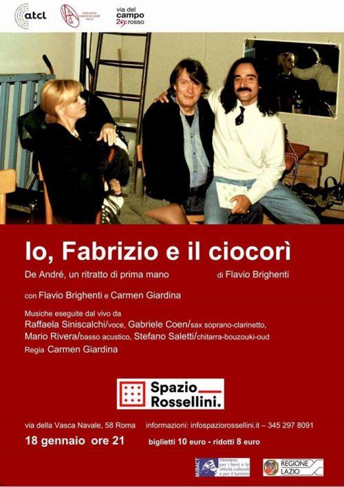 """""""Io, Fabrizio e il Ciocorì"""", lo spettacolo ispirato a Fabrizio De André allo Spazio Rossellini di Roma"""