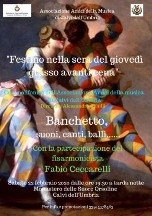 Carnevale calvese, il 22 febbraio serata con il M° Fabio Ceccarelli