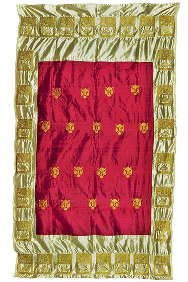 Giuseppe Abate, Panther, ricamo a macchina; filo d'oro sintetico su seta sintetica e naturale di Assam